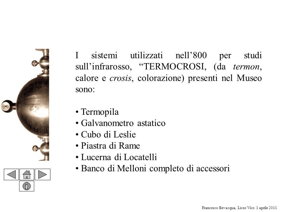 I sistemi utilizzati nell'800 per studi sull'infrarosso, TERMOCROSI, (da termon, calore e crosis, colorazione) presenti nel Museo sono: