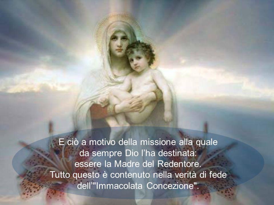 E ciò a motivo della missione alla quale da sempre Dio l'ha destinata: essere la Madre del Redentore.