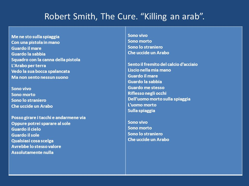 Robert Smith, The Cure. Killing an arab .
