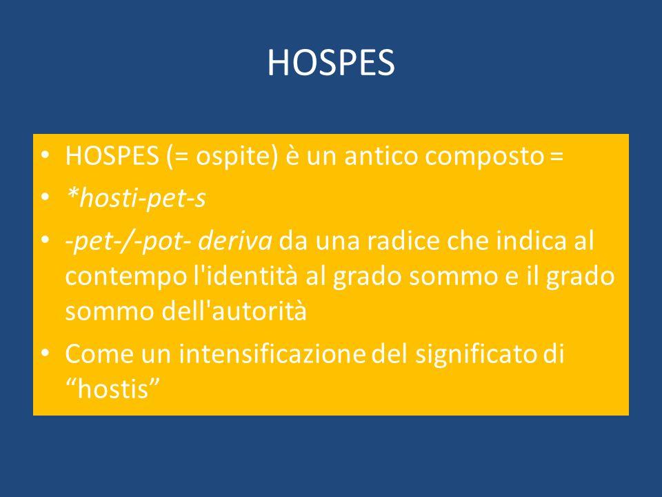 HOSPES HOSPES (= ospite) è un antico composto = *hosti-pet-s