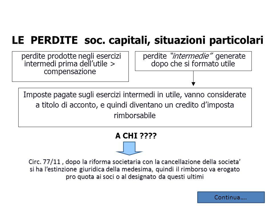 LE PERDITE soc. capitali, situazioni particolari