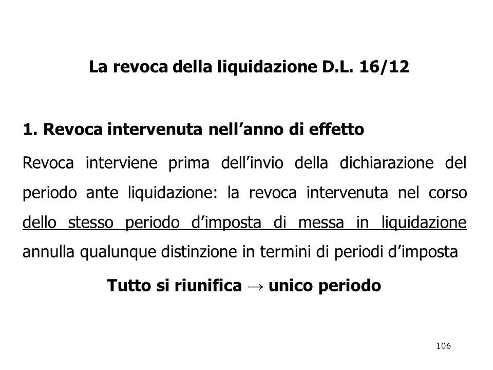La revoca della liquidazione D.L. 16/12