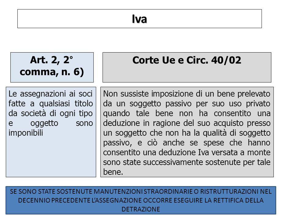 Iva Art. 2, 2° comma, n. 6) Corte Ue e Circ. 40/02