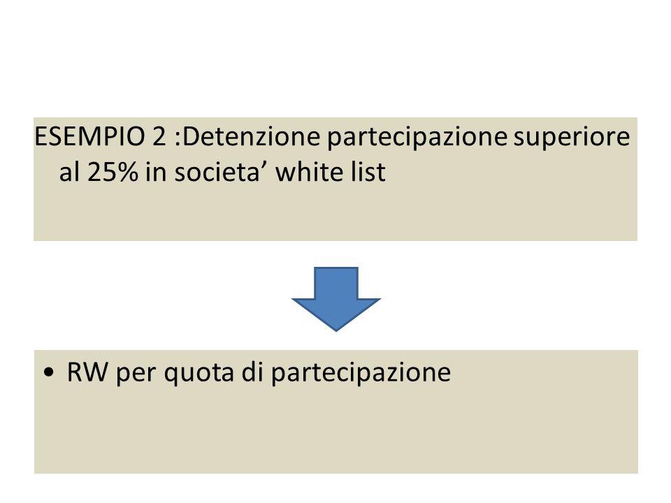 Esempio 2 : partecipazione 26% societa' white list