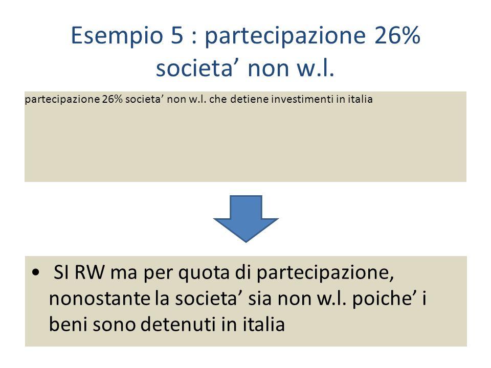 Esempio 5 : partecipazione 26% societa' non w.l.