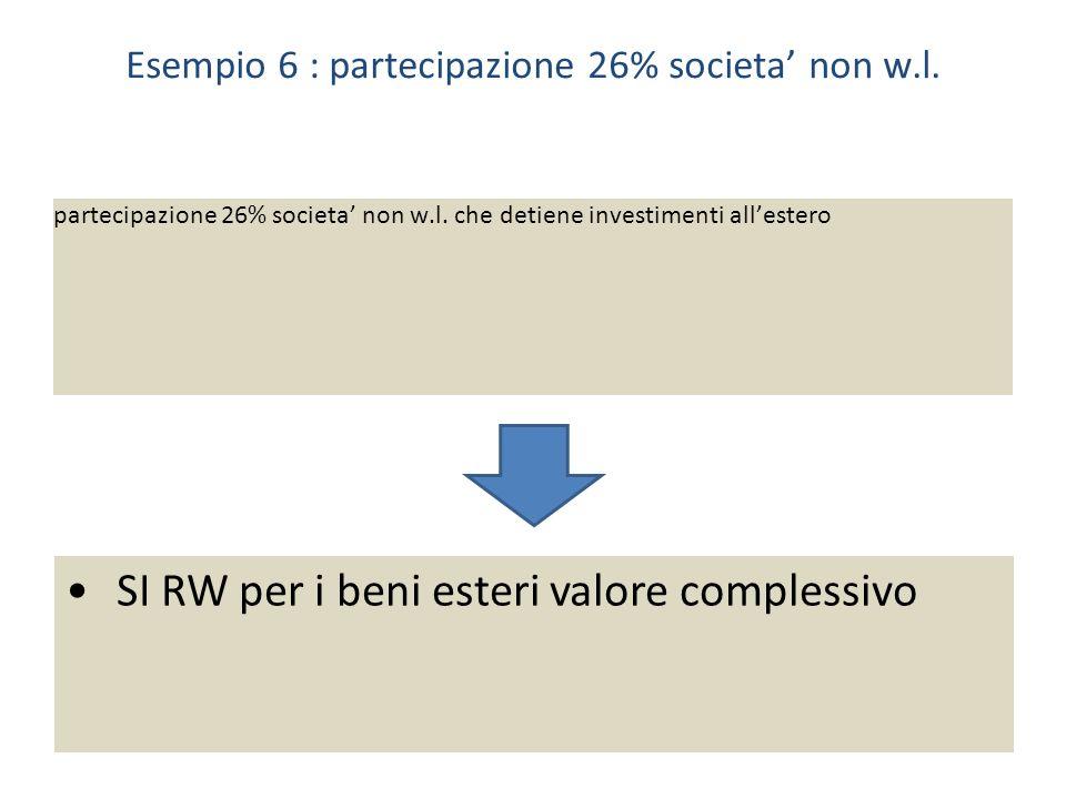 Esempio 6 : partecipazione 26% societa' non w.l.