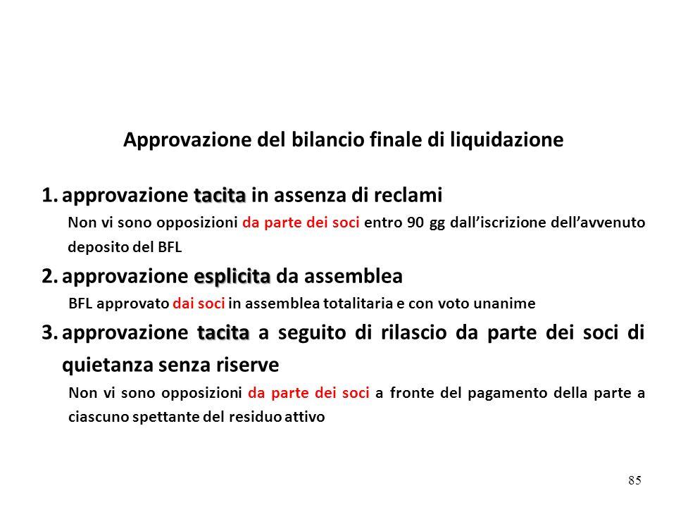 Approvazione del bilancio finale di liquidazione