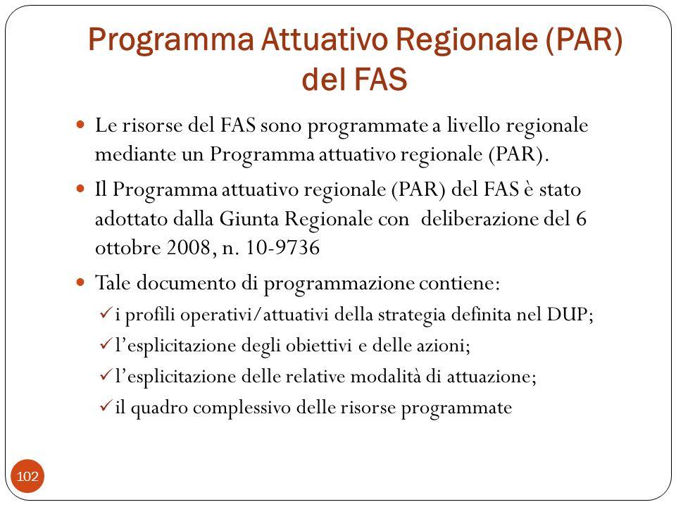 Programma Attuativo Regionale (PAR) del FAS