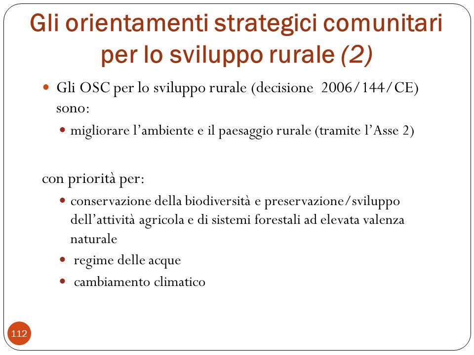 Gli orientamenti strategici comunitari per lo sviluppo rurale (2)