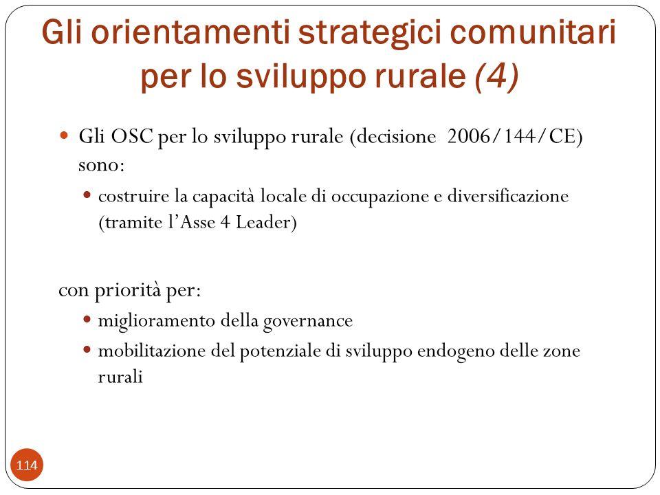 Gli orientamenti strategici comunitari per lo sviluppo rurale (4)
