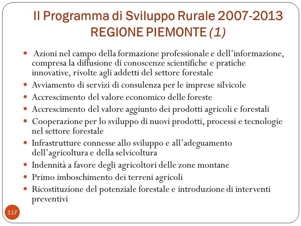 Il Programma di Sviluppo Rurale 2007-2013 REGIONE PIEMONTE (1)