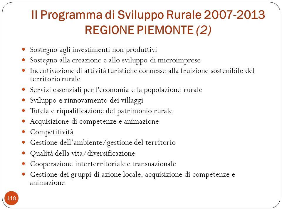 Il Programma di Sviluppo Rurale 2007-2013 REGIONE PIEMONTE (2)