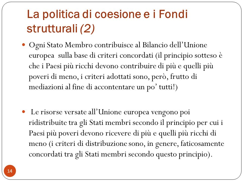 La politica di coesione e i Fondi strutturali (2)