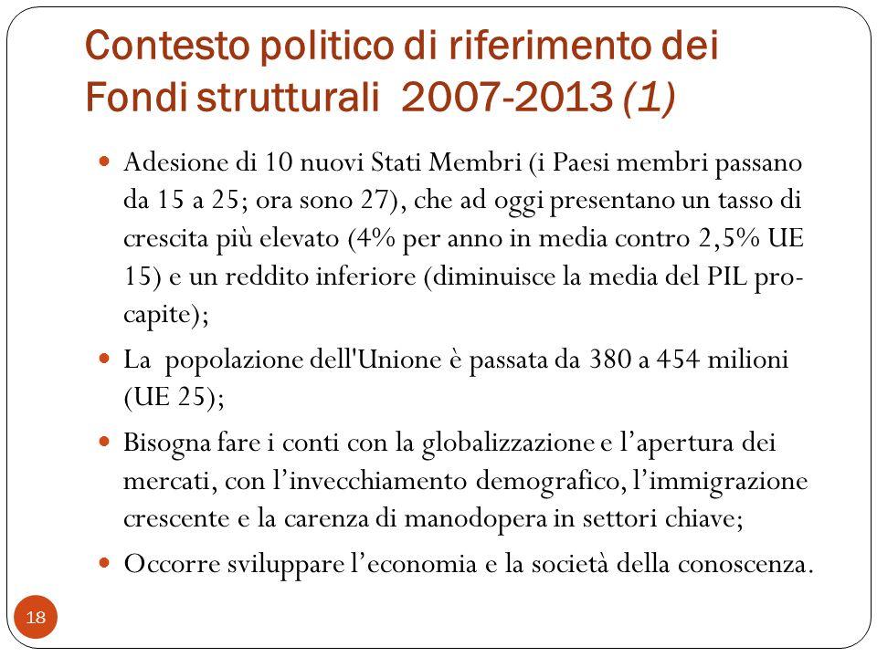 Contesto politico di riferimento dei Fondi strutturali 2007-2013 (1)