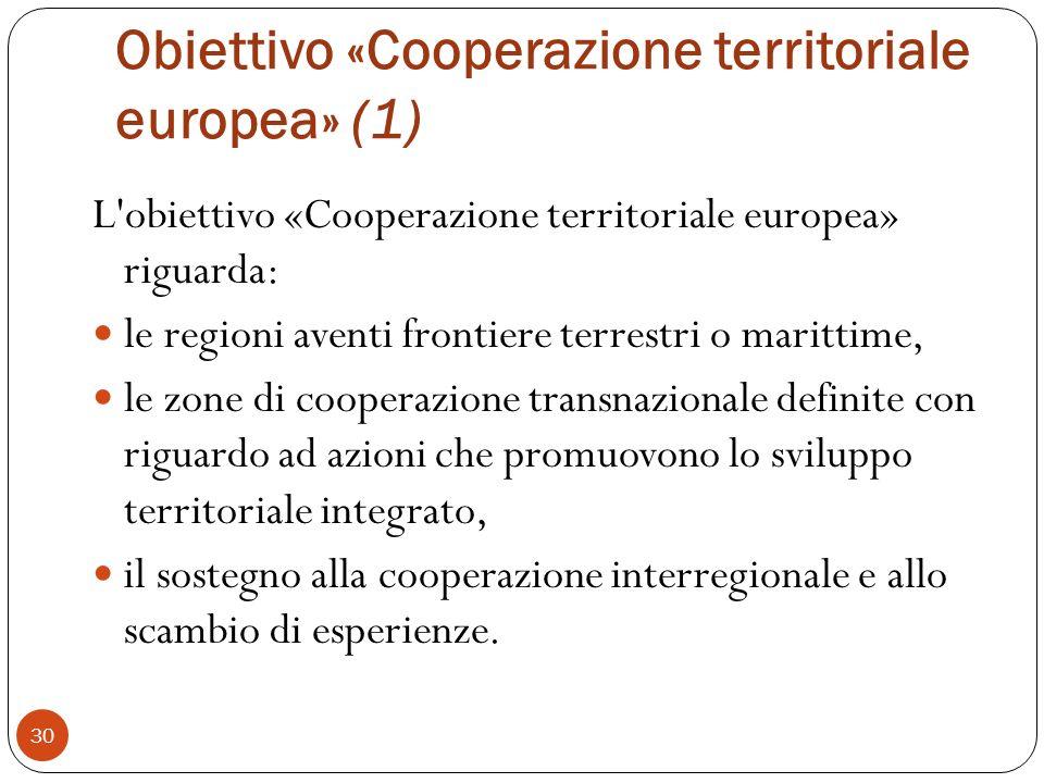 Obiettivo «Cooperazione territoriale europea» (1)
