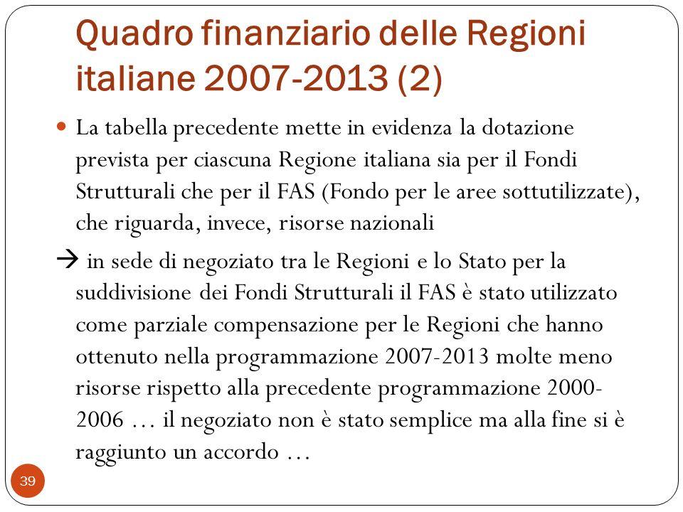 Quadro finanziario delle Regioni italiane 2007-2013 (2)