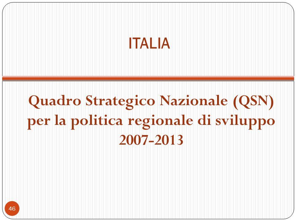ITALIA Quadro Strategico Nazionale (QSN) per la politica regionale di sviluppo 2007-2013