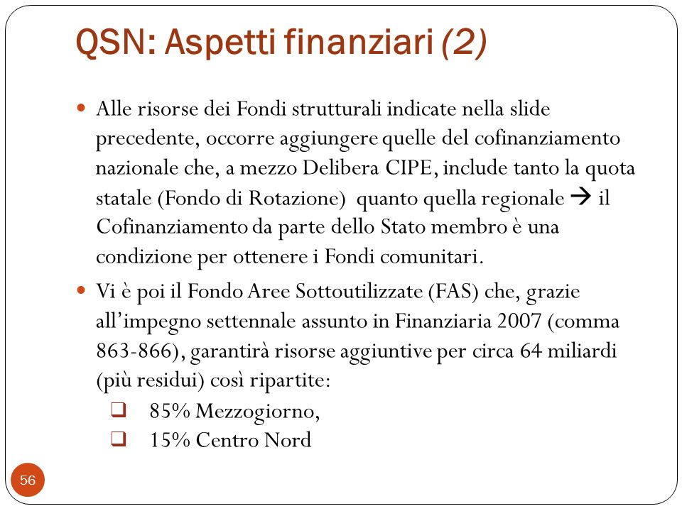 QSN: Aspetti finanziari (2)