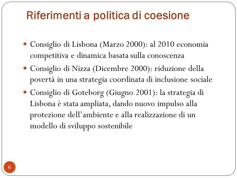 Riferimenti a politica di coesione