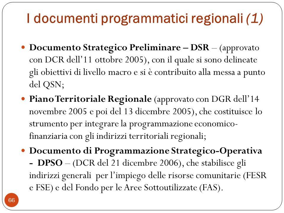 I documenti programmatici regionali (1)