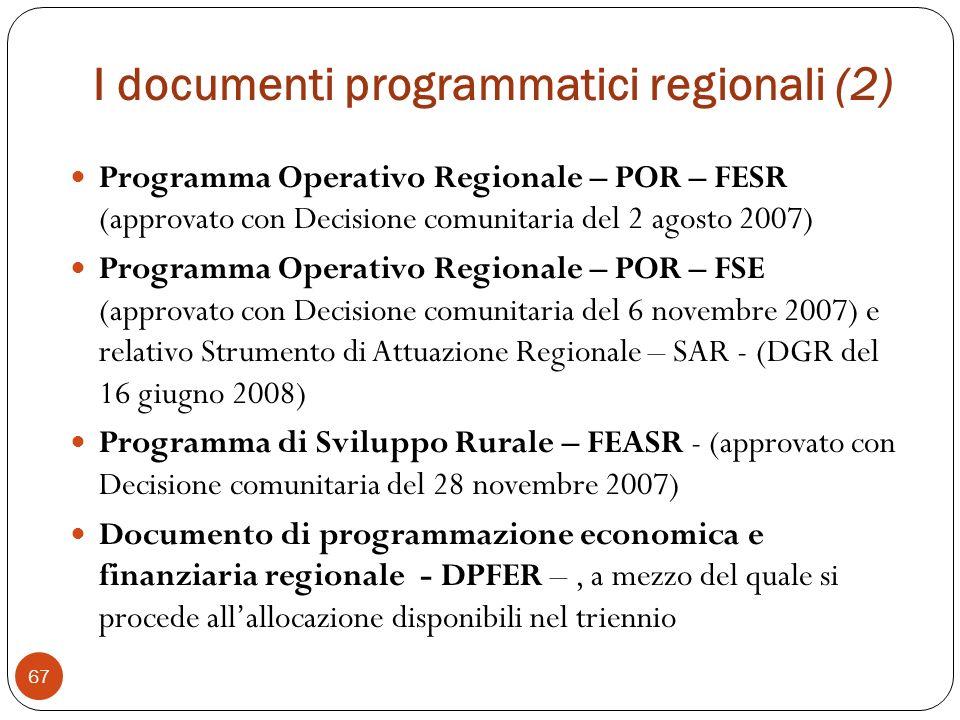 I documenti programmatici regionali (2)
