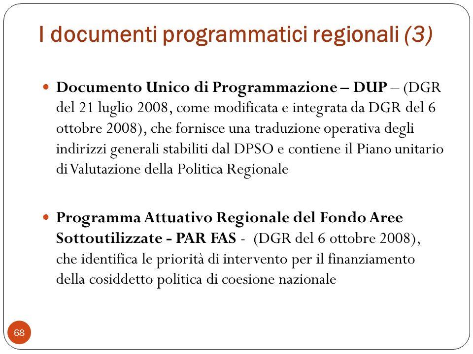 I documenti programmatici regionali (3)