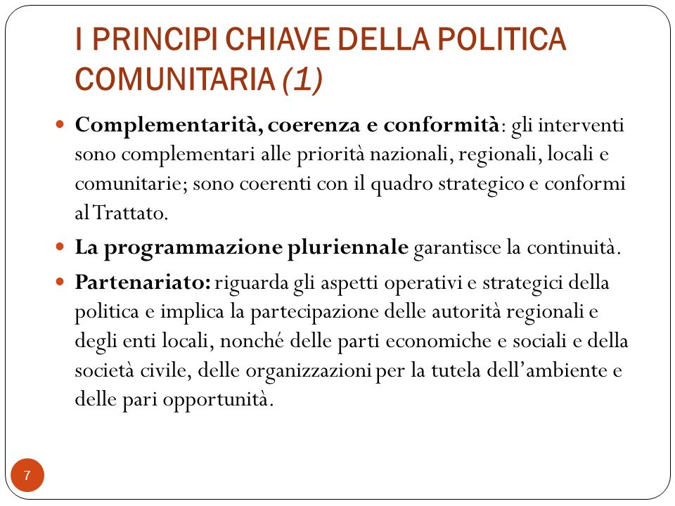 I PRINCIPI CHIAVE DELLA POLITICA COMUNITARIA (1)