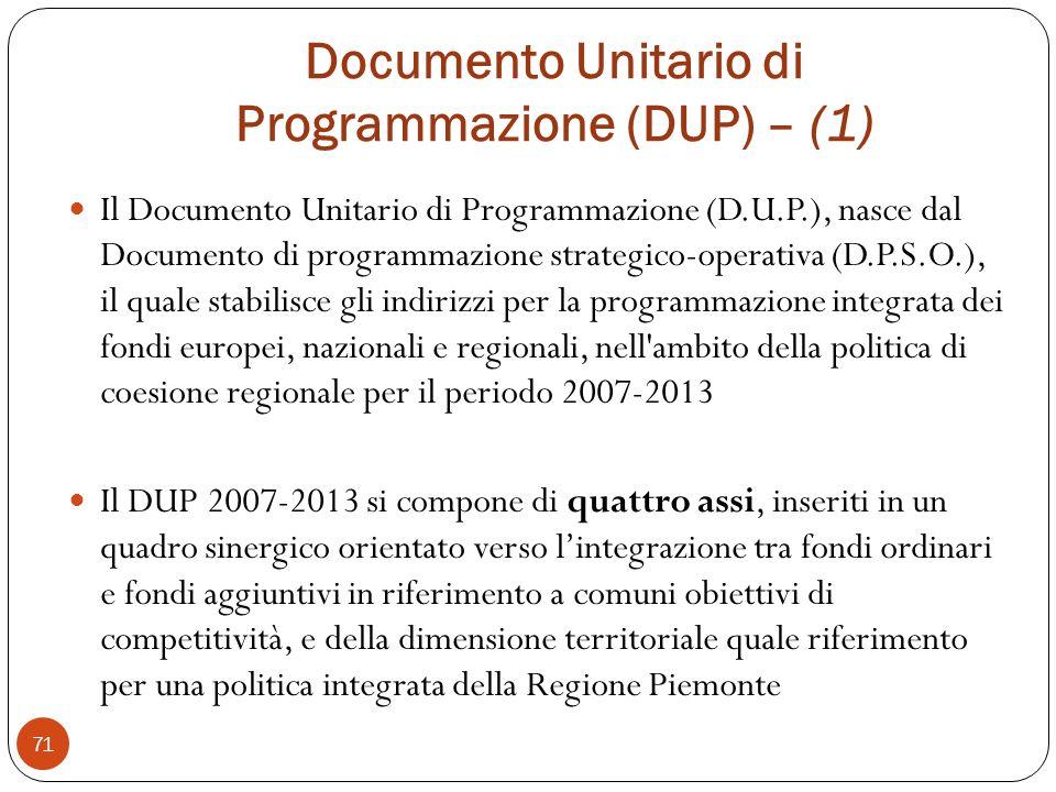 Documento Unitario di Programmazione (DUP) – (1)