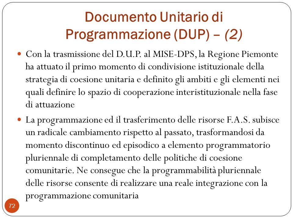 Documento Unitario di Programmazione (DUP) – (2)
