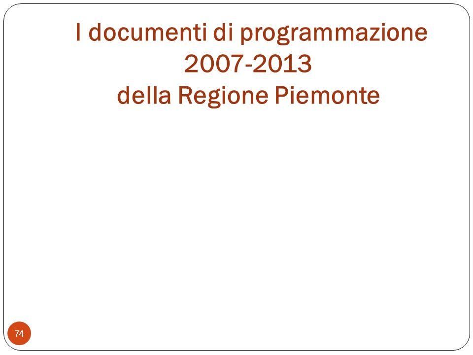 I documenti di programmazione 2007-2013 della Regione Piemonte