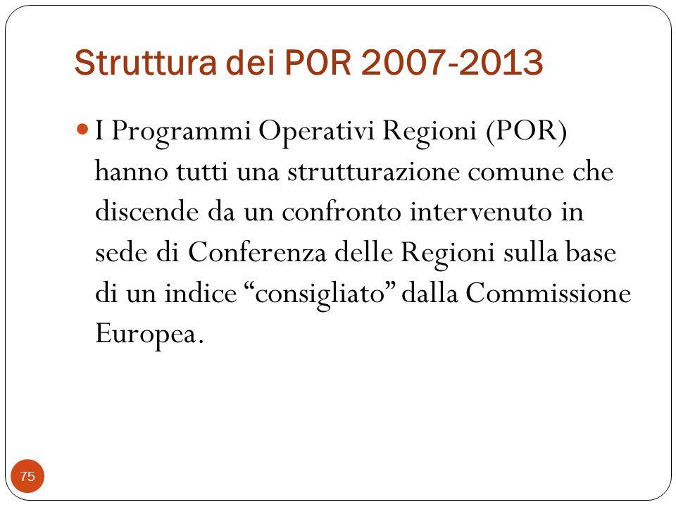 Struttura dei POR 2007-2013