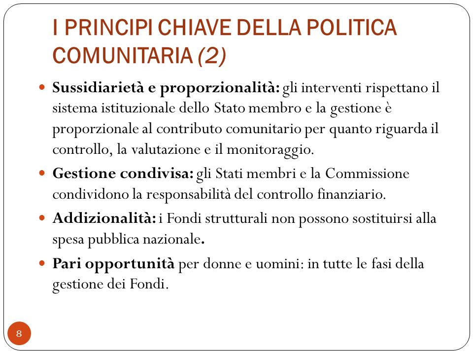 I PRINCIPI CHIAVE DELLA POLITICA COMUNITARIA (2)