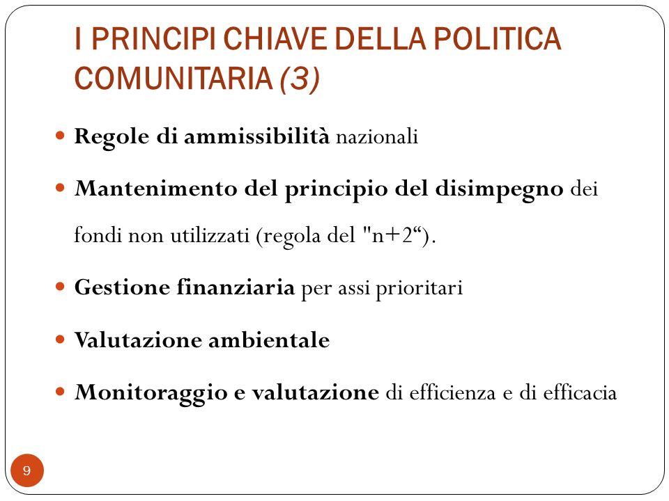 I PRINCIPI CHIAVE DELLA POLITICA COMUNITARIA (3)