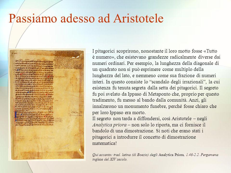 Passiamo adesso ad Aristotele