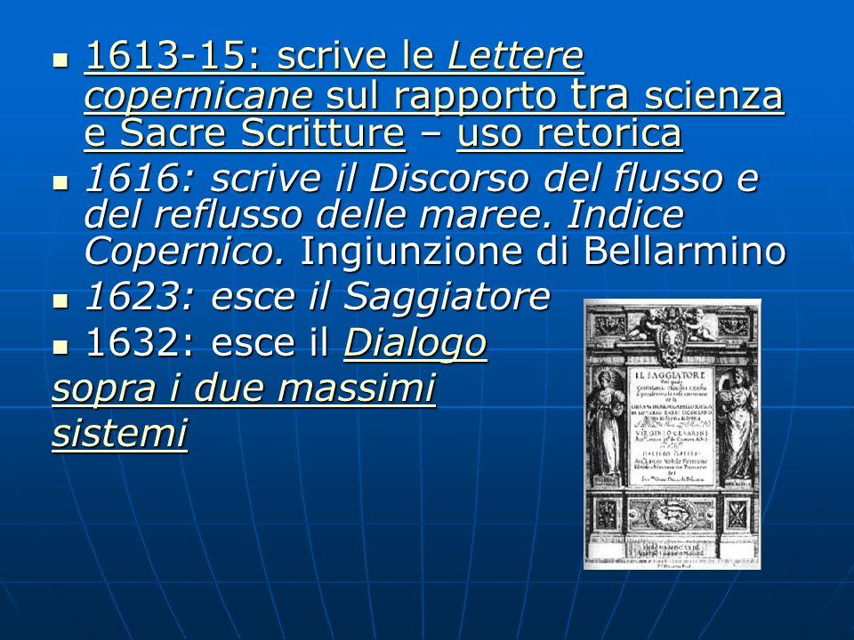 1613-15: scrive le Lettere copernicane sul rapporto tra scienza e Sacre Scritture – uso retorica