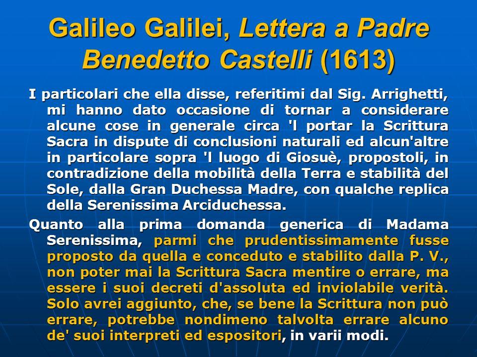 Galileo Galilei, Lettera a Padre Benedetto Castelli (1613)