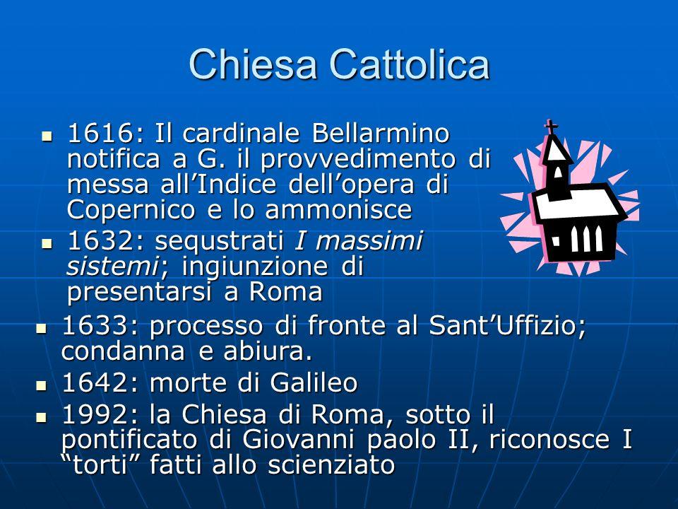 Chiesa Cattolica 1616: Il cardinale Bellarmino notifica a G. il provvedimento di messa all'Indice dell'opera di Copernico e lo ammonisce.