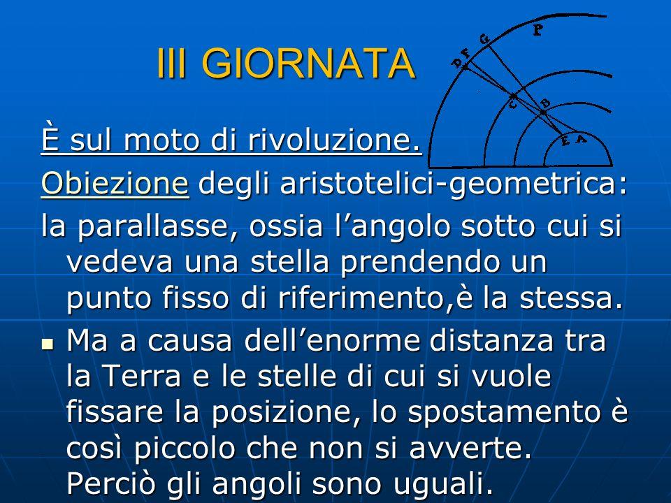 III GIORNATA È sul moto di rivoluzione.