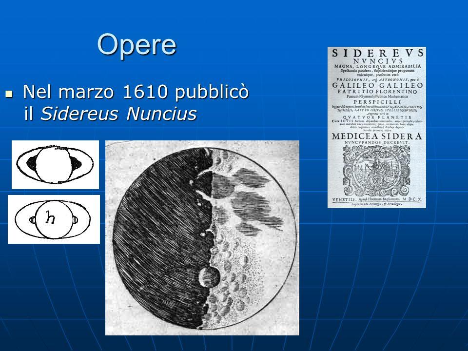 Opere Nel marzo 1610 pubblicò il Sidereus Nuncius