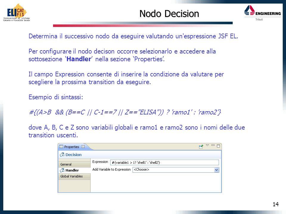 Nodo Decision Determina il successivo nodo da eseguire valutando un espressione JSF EL.