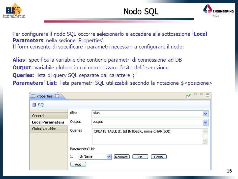 Nodo SQL Per configurare il nodo SQL occorre selezionarlo e accedere alla sottosezione 'Local Parameters' nella sezione 'Properties'.