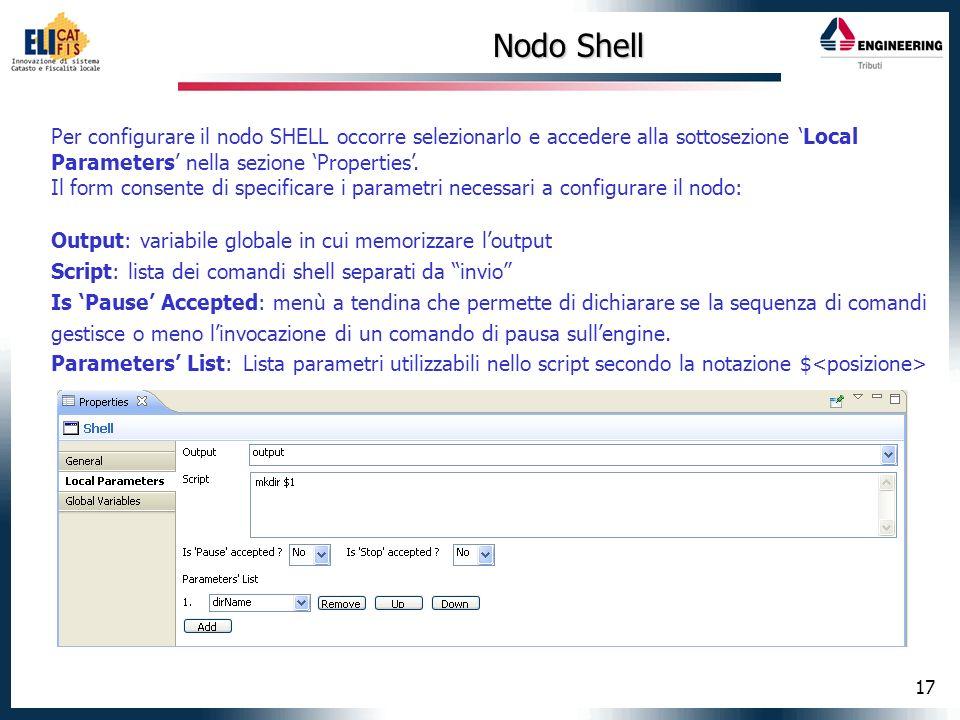 Nodo Shell Per configurare il nodo SHELL occorre selezionarlo e accedere alla sottosezione 'Local Parameters' nella sezione 'Properties'.
