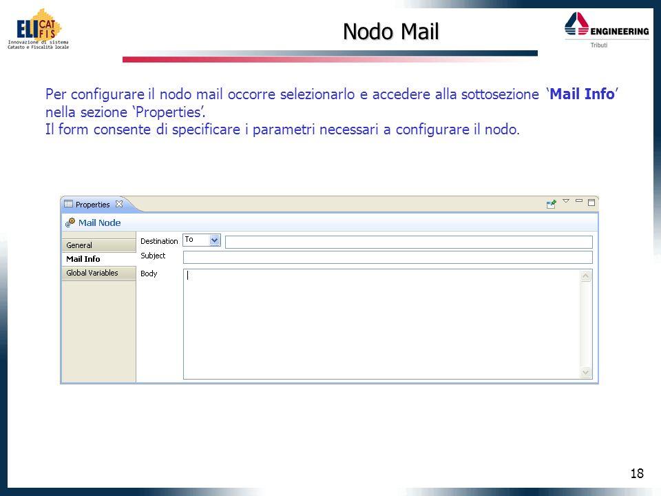 Nodo Mail Per configurare il nodo mail occorre selezionarlo e accedere alla sottosezione 'Mail Info' nella sezione 'Properties'.
