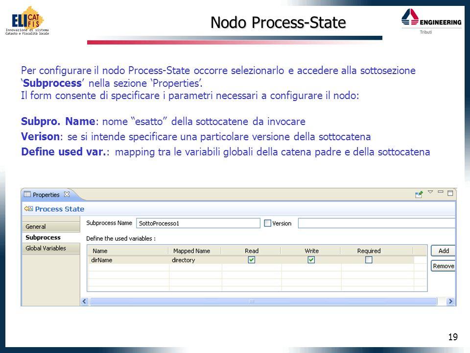 Nodo Process-State Per configurare il nodo Process-State occorre selezionarlo e accedere alla sottosezione 'Subprocess' nella sezione 'Properties'.