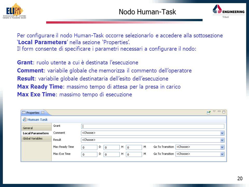 Nodo Human-Task Per configurare il nodo Human-Task occorre selezionarlo e accedere alla sottosezione 'Local Parameters' nella sezione 'Properties'.
