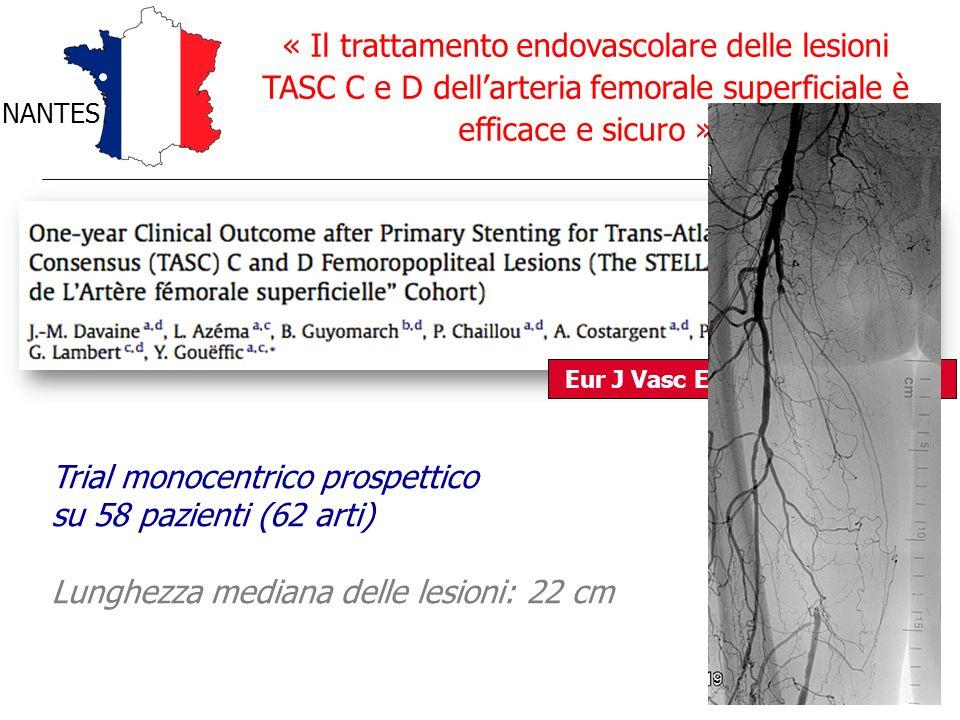 Trial monocentrico prospettico su 58 pazienti (62 arti)
