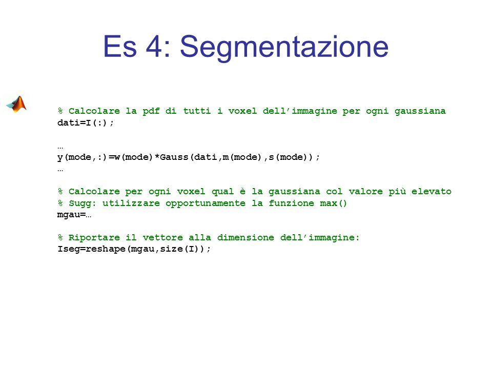 Es 4: Segmentazione % Calcolare la pdf di tutti i voxel dell'immagine per ogni gaussiana. dati=I(:);