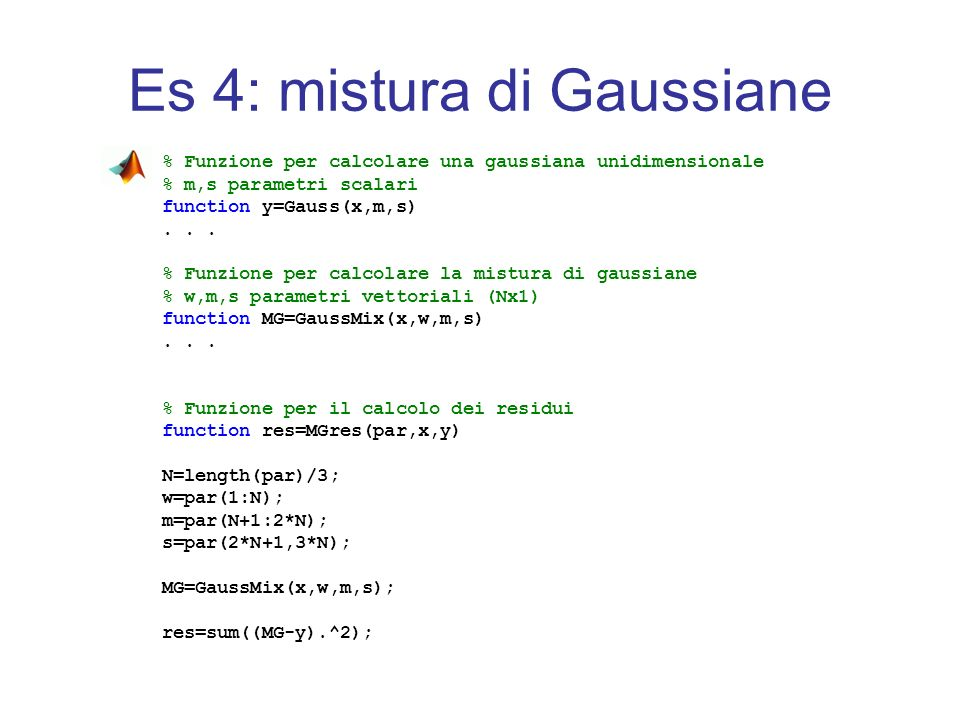 Es 4: mistura di Gaussiane