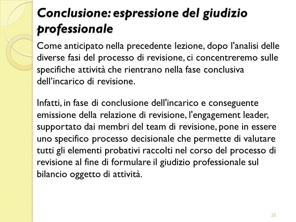 Conclusione: espressione del giudizio professionale