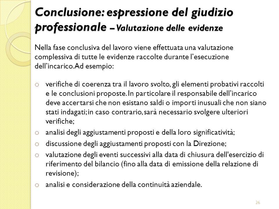 Conclusione: espressione del giudizio professionale – Valutazione delle evidenze